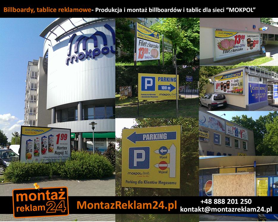 """Billboardy, tablice reklamowe- Produkcja i montaż billboardów i tablic dla sieci """"MOKPOL"""".jpg"""