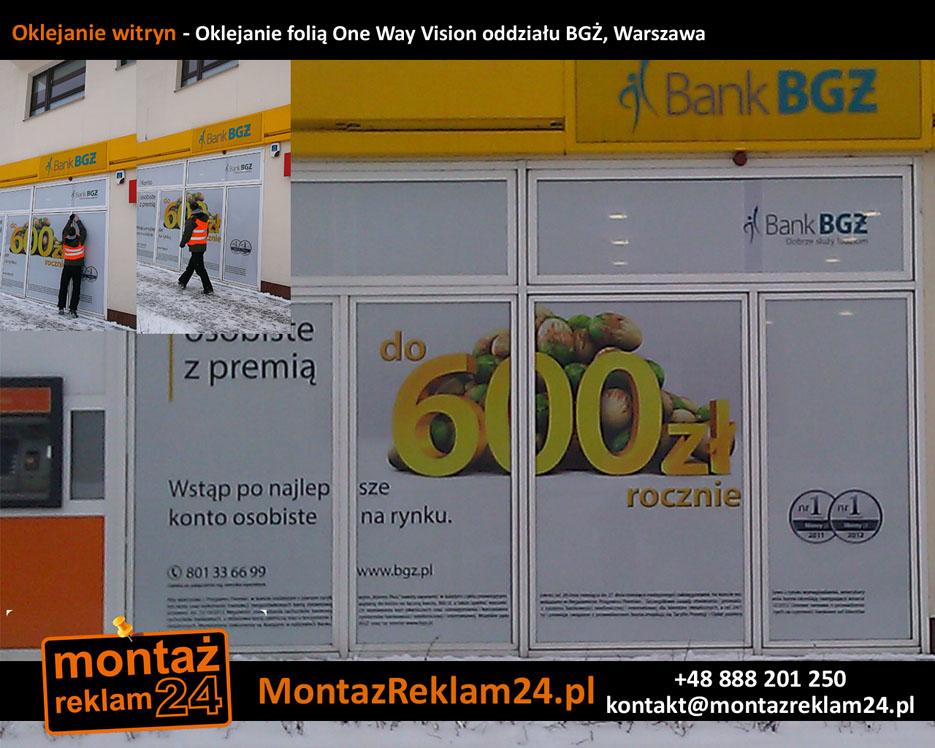 Oklejanie witryn - Oklejanie folią One Way Vision oddziału BGŻ, Warszawa.jpg