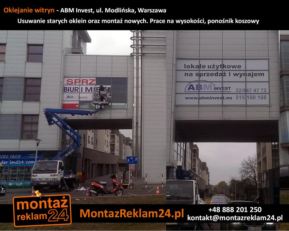 Oklejanie witryn - ABM Invest, ul. Modlińska, Warszawa - Usuwanie starych oklein okiennych, prace na wysokośćiach, podnośnik koszowy.jpg