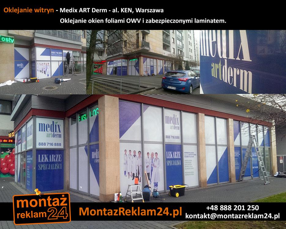 Oklejanie witryn - Medix ART Derm - al. KEN, Warszawa.jpg