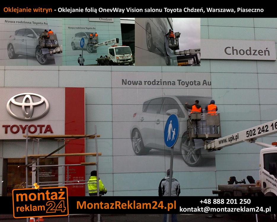Oklejanie witryn - Oklejanie folią OnevWay Vision salonu Toyota Chdzeń, Warszawa, Piaseczno.jpg