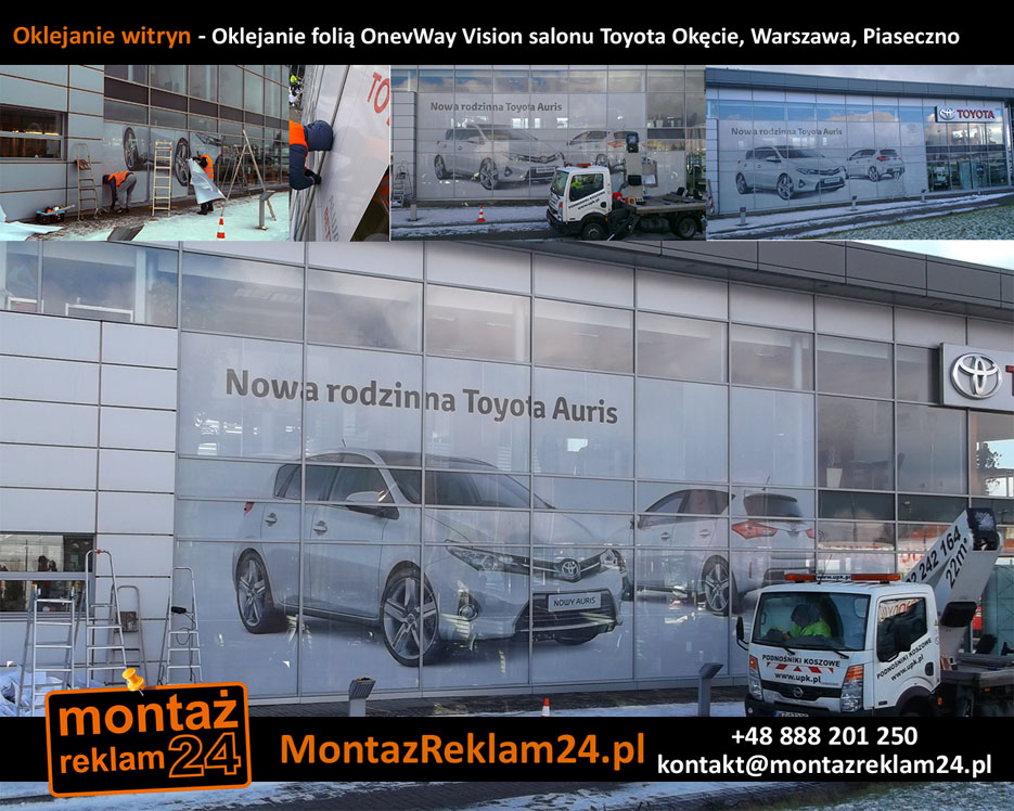 Oklejanie witryn - Oklejanie folią OnevWay Vision salonu Toyota Okęcie, Warszawa, Piaseczno.jpg