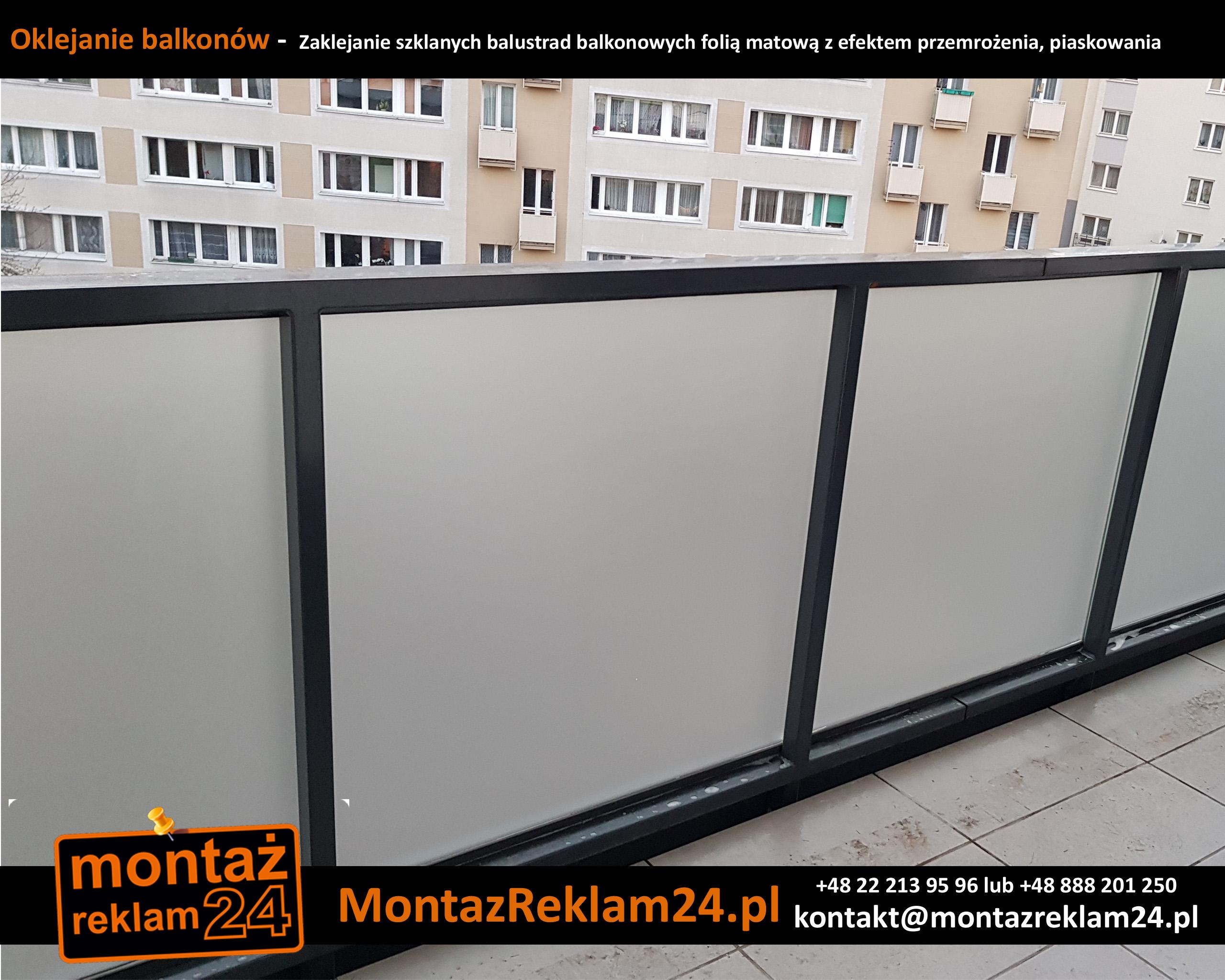 Oklejanie balkonów -  Zaklejanie szklanych balustrad balkonowych folią matową z efektem przemrożenia, piaskowania.jpg
