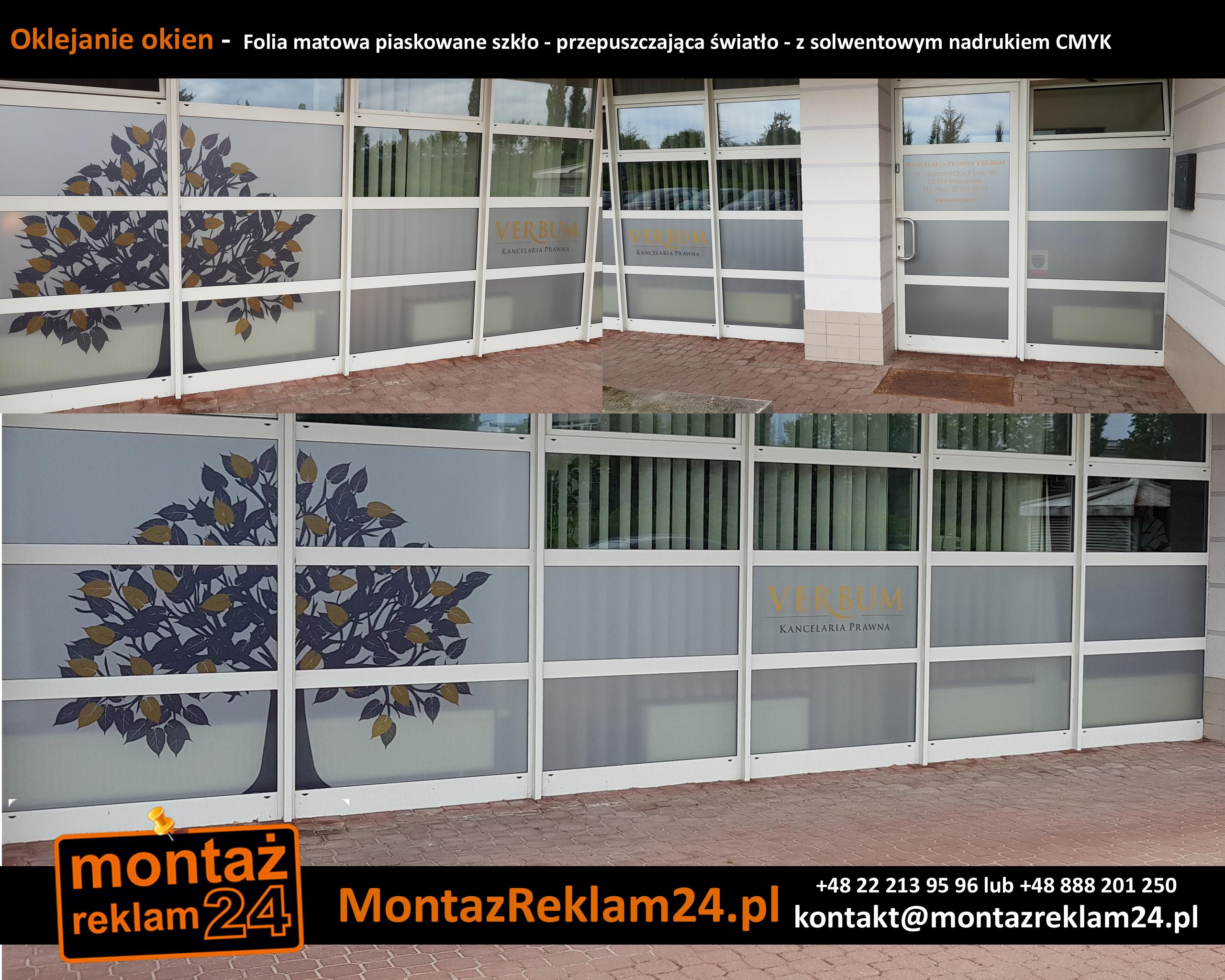 Oklejanie okien -  Folia matowa piaskowane szkło - przepuszczająca światło - z solwentowym nadrukiem CMYK.jpg