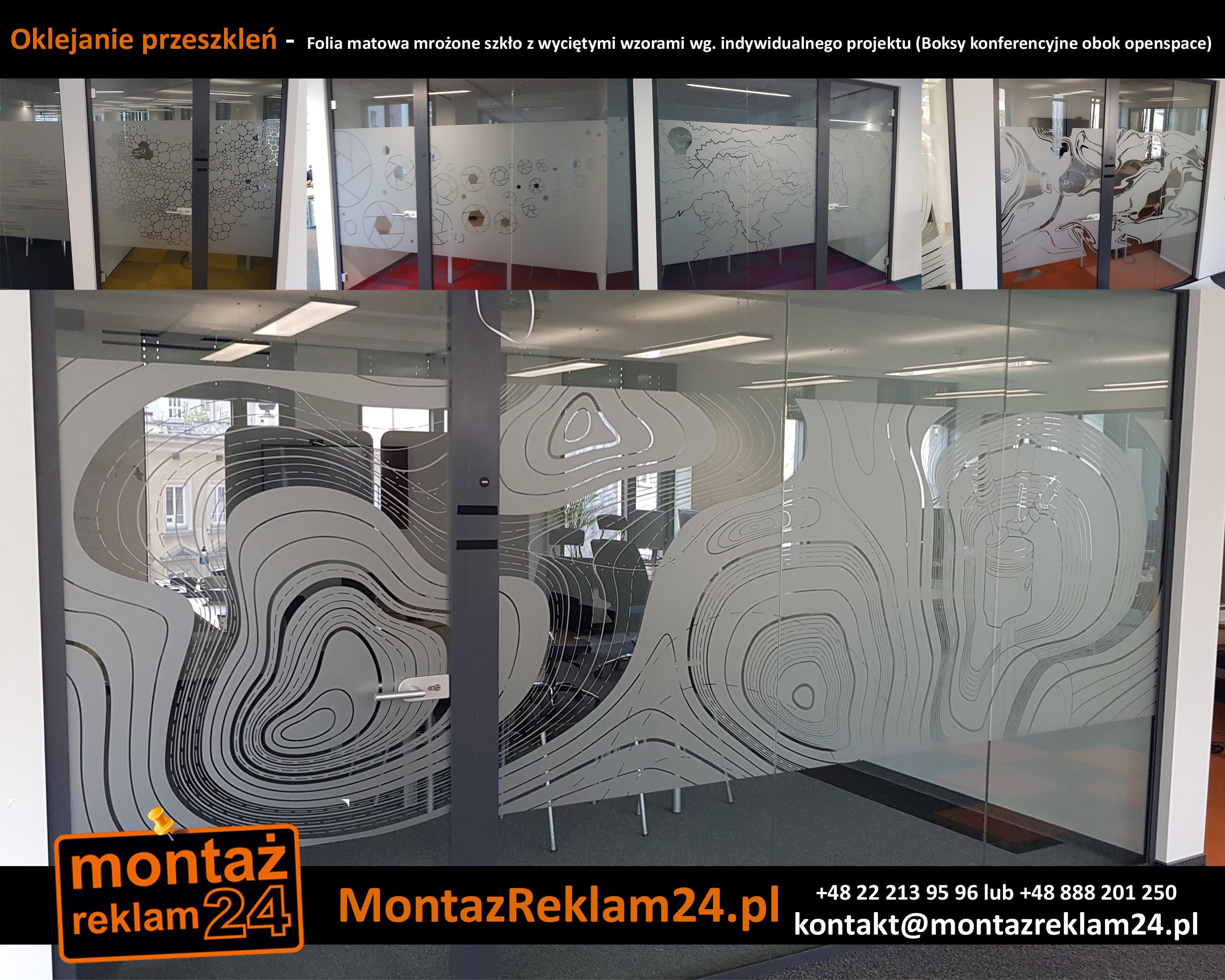 Oklejanie przeszkleń -  Folia matowa mrożone szkło z wyciętymi wzorami wg.jpg