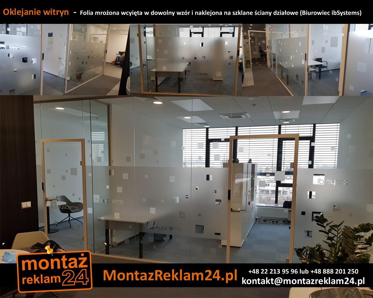 Oklejanie witryn  -  Folia mrożona wcyięta w dowolny wzór i naklejona na szklane ściany działowe (Biurowiec ibSystems).jpg