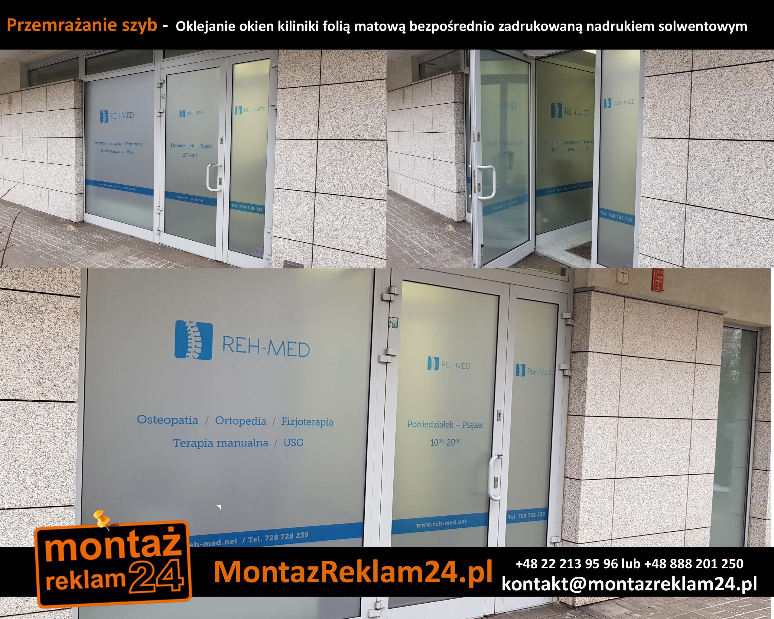 Przemrażanie szyb -  Oklejanie okien kiliniki folią matową bezpośrednio zadrukowaną nadrukiem solwentowym.jpg