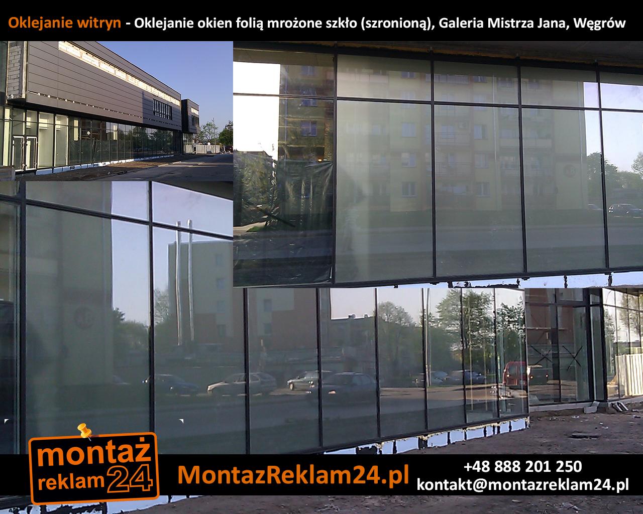 Oklejanie witryn - Oklejanie okien folią mrożone szkło (szronioną), Galeria Mistrza Jana, Węgrów.jpg
