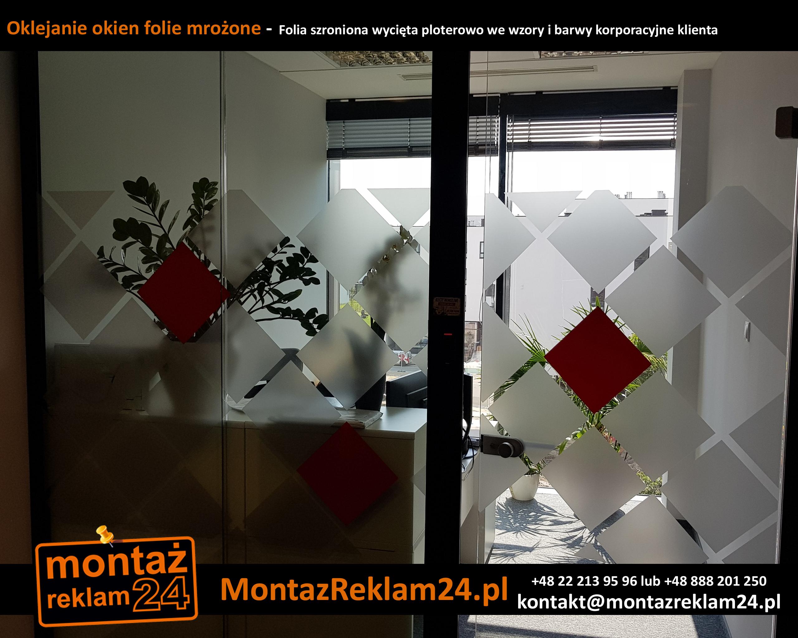 Oklejanie okien folie mrożone -  Folia szroniona wycięta ploterowo we wzory i barwy korporacyjne klienta.jpg