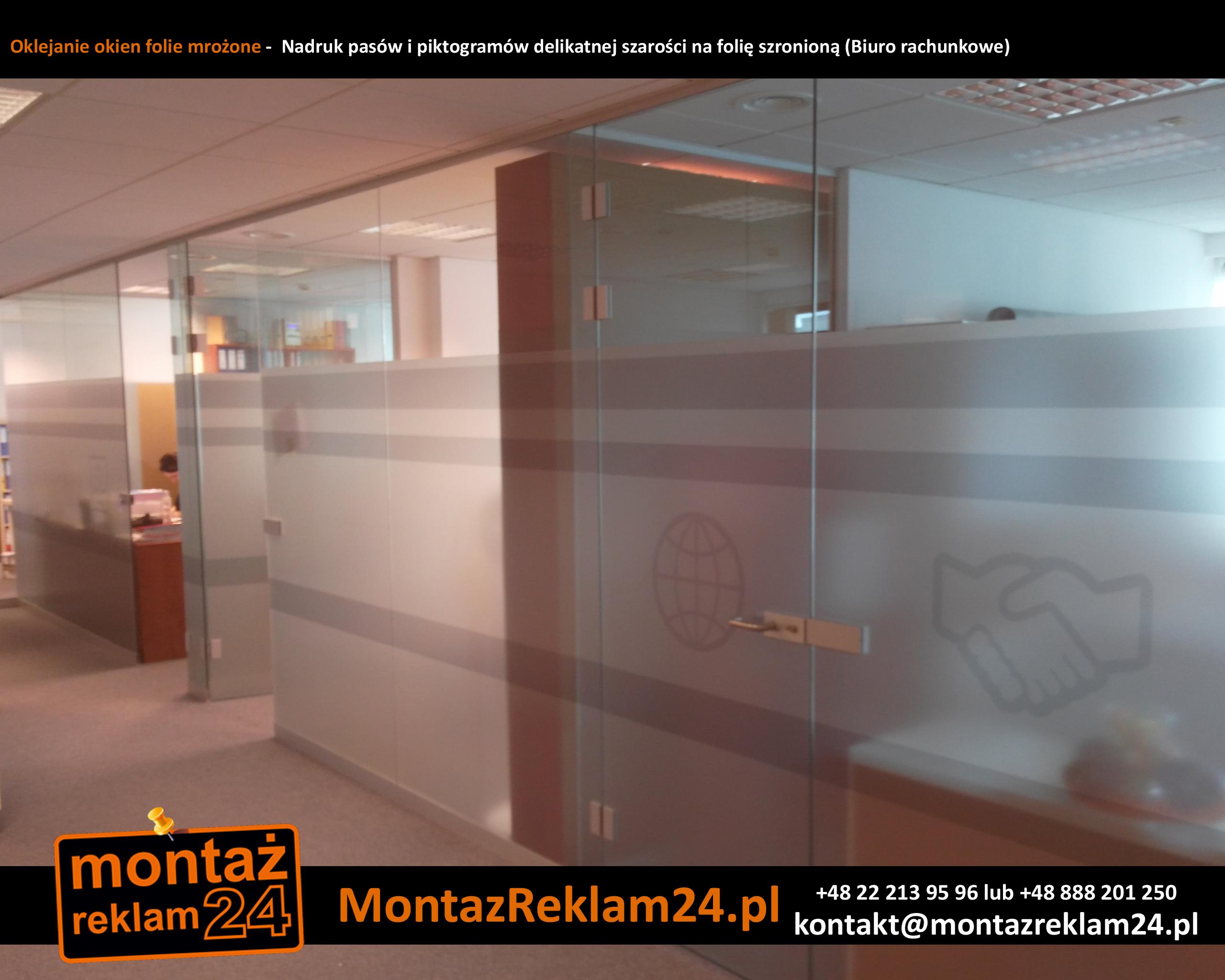 Oklejanie okien folie mrożone -  Nadruk pasów i piktogramów delikatnej szarości na folię szronioną (Biuro rachunkowe).jpg