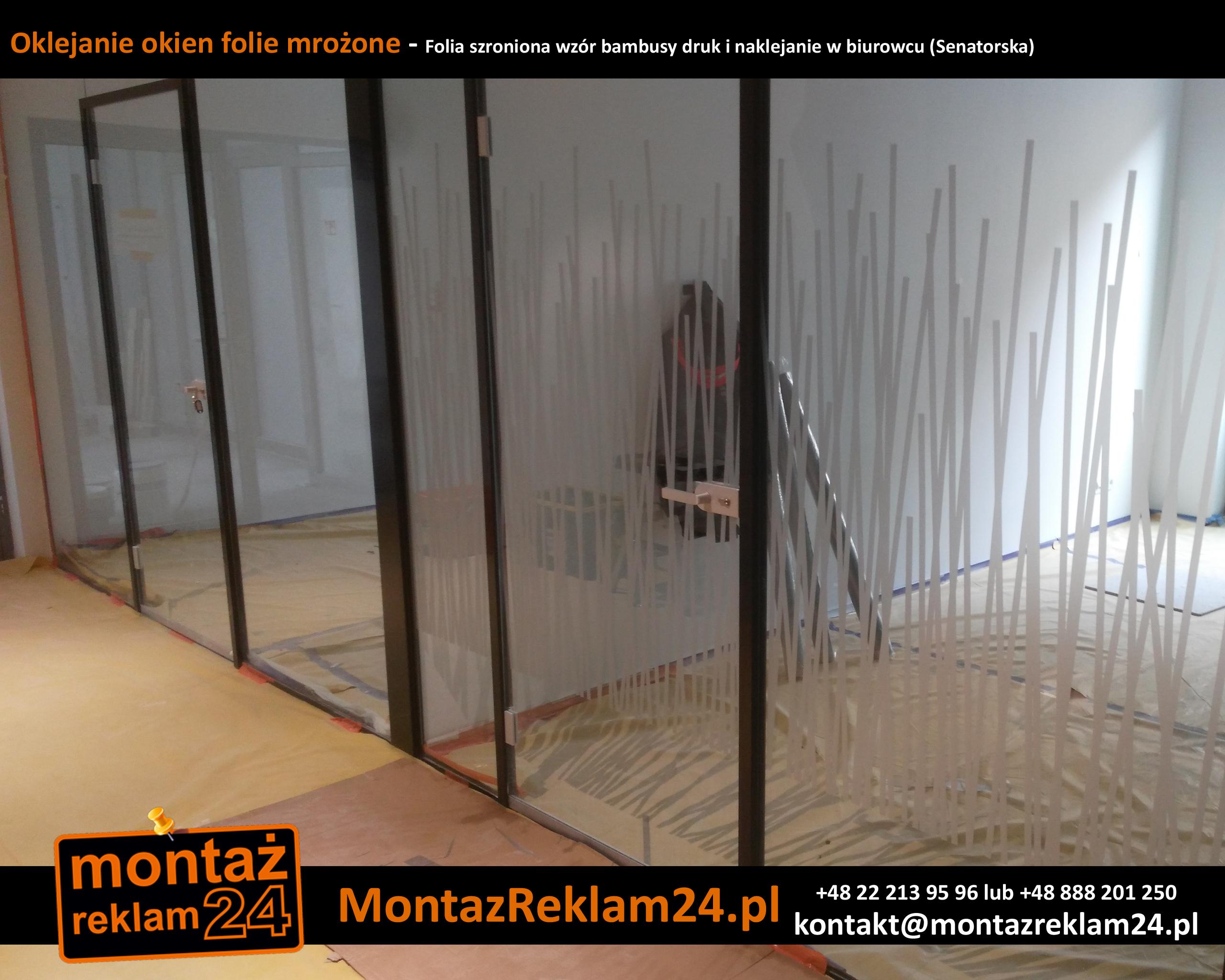 Oklejanie okien folie mrożone - Folia szroniona wzór bambusy druk i naklejanie w biurowcu (Senatorska).jpg