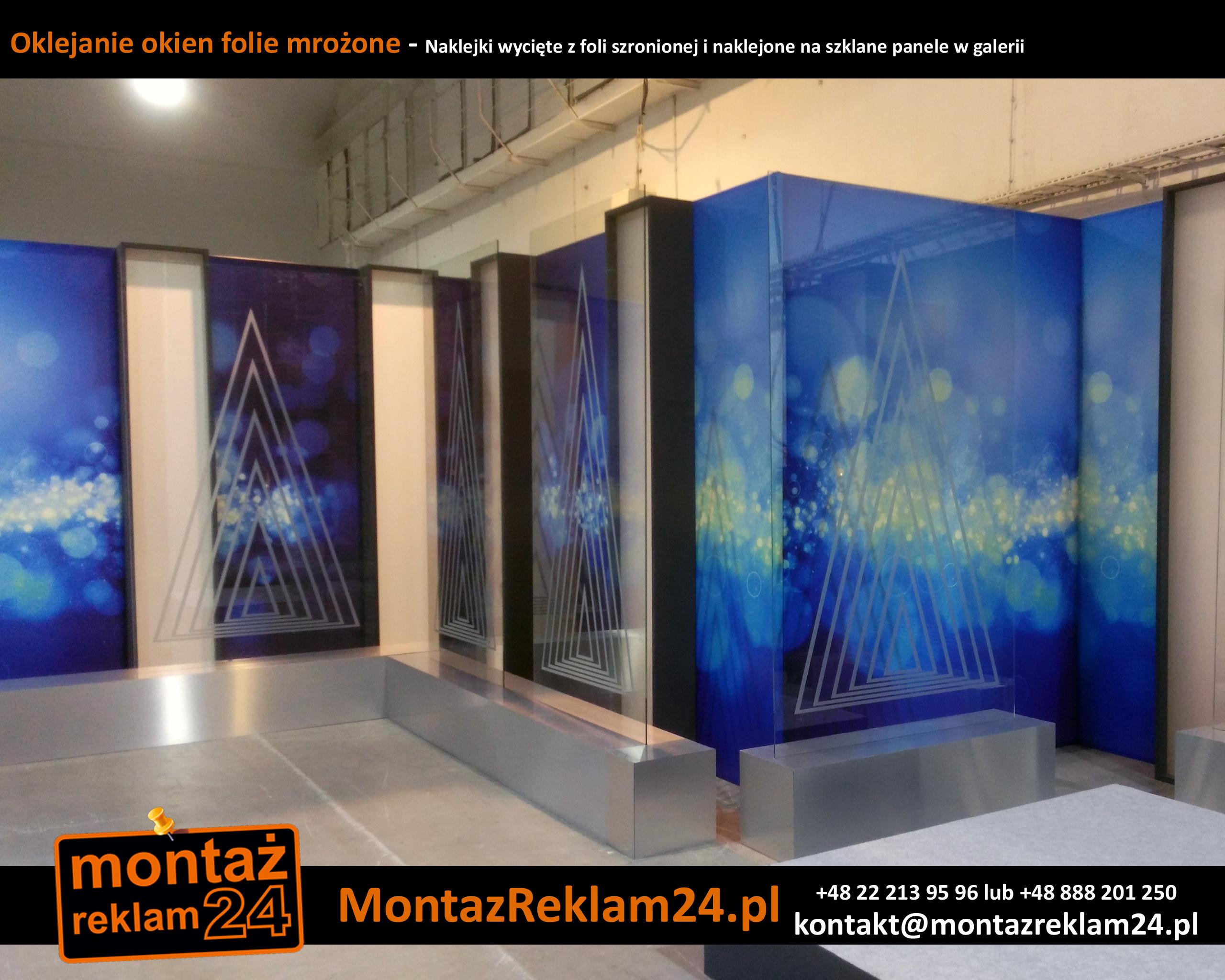 Oklejanie okien folie mrożone - Naklejki wycięte z foli szronionej i naklejone na szklane panele w galerii.jpg