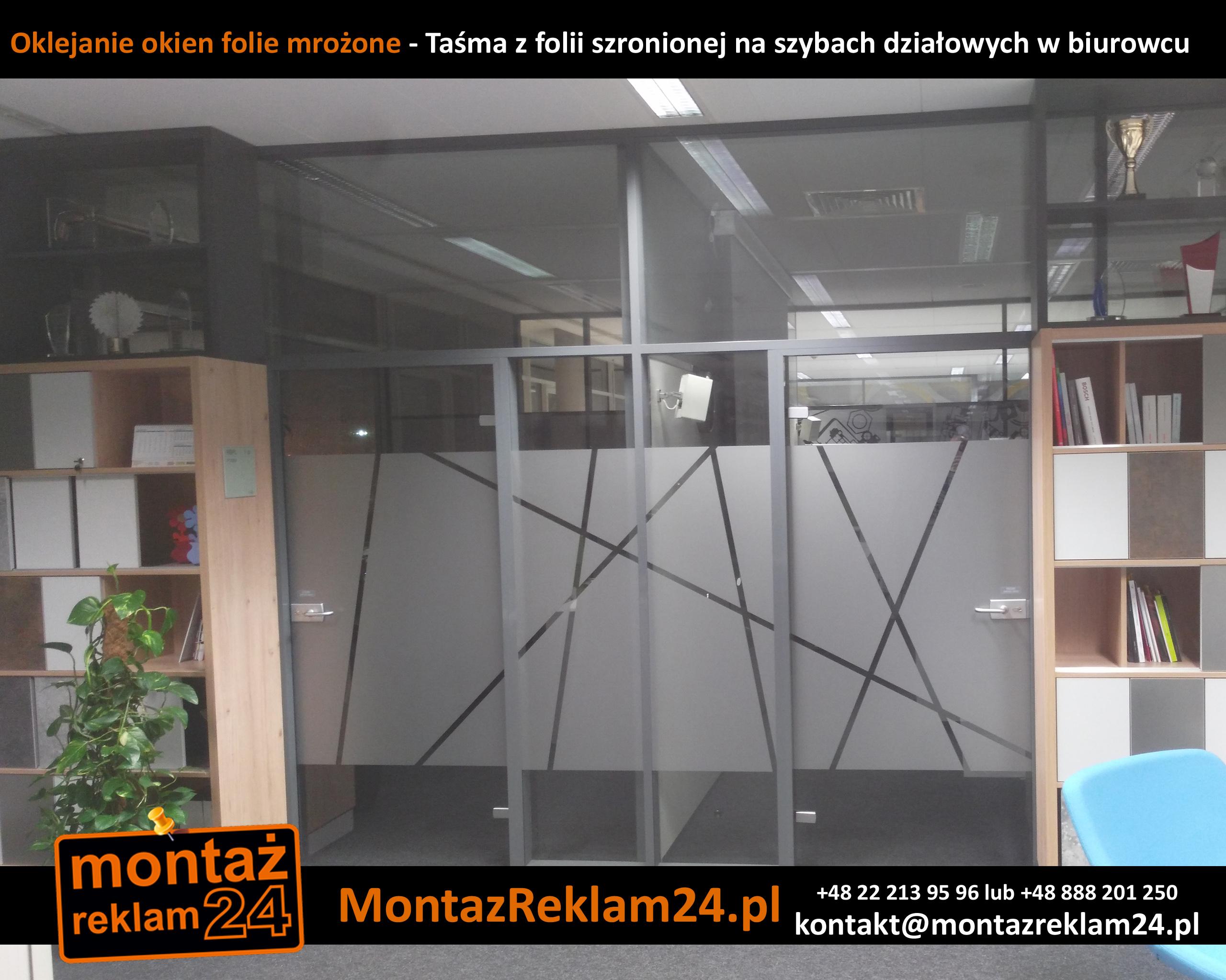 Oklejanie okien folie mrożone - Taśma z folii szronionej na szybach działowych w biurowcu.jpg