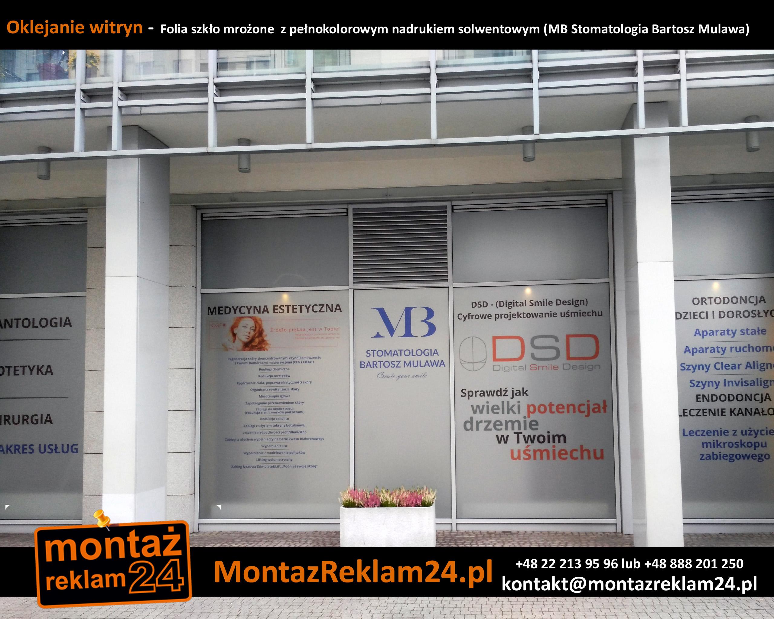 Oklejanie witryn -  Folia szkło mrożone  z pełnokolorowym nadrukiem solwentowym (MB Stomatologia Bartosz Mulawa).jpg