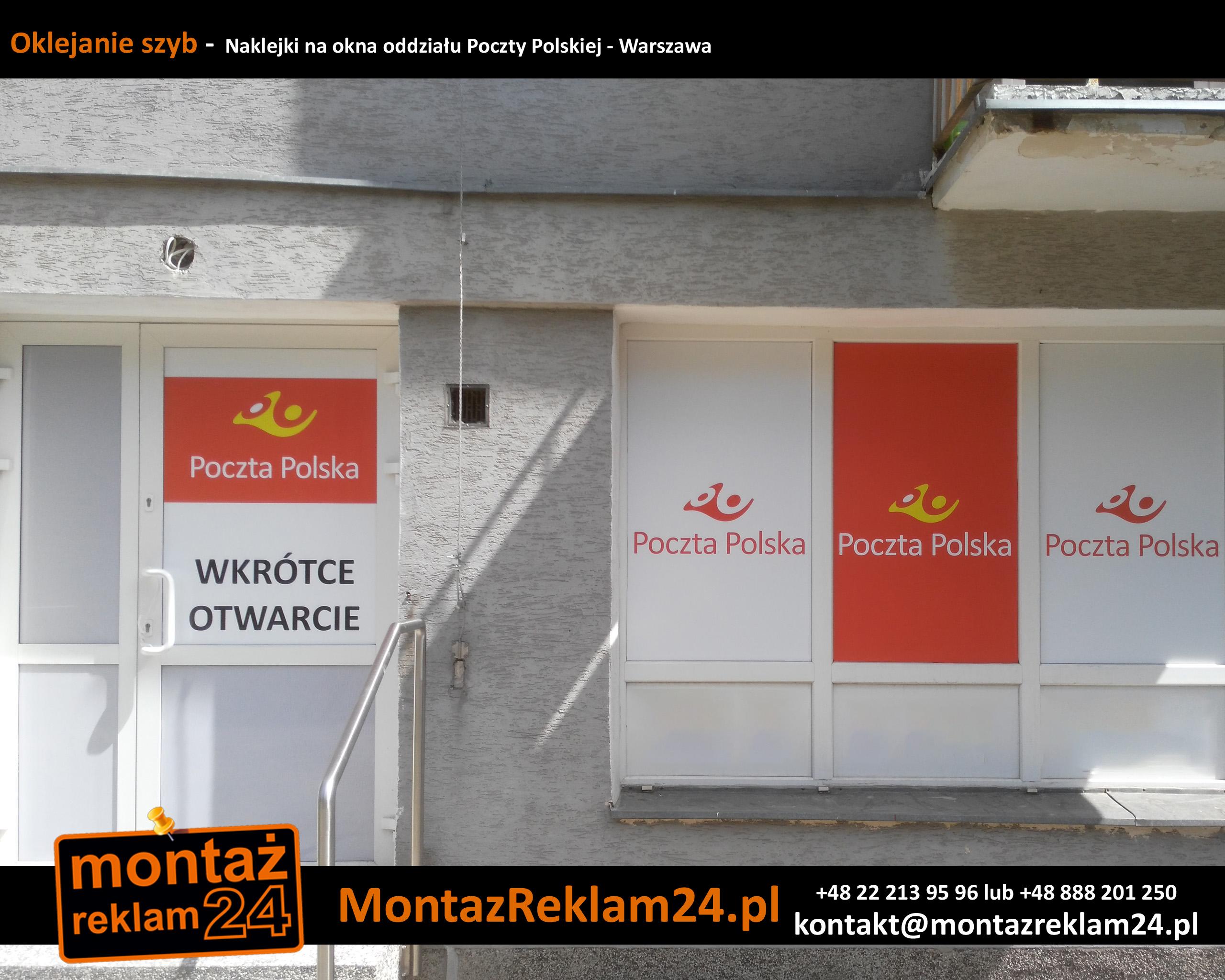 Oklejanie szyb-  Naklejki na okna oddziału Poczty Polskiej - Warszawa.jpg
