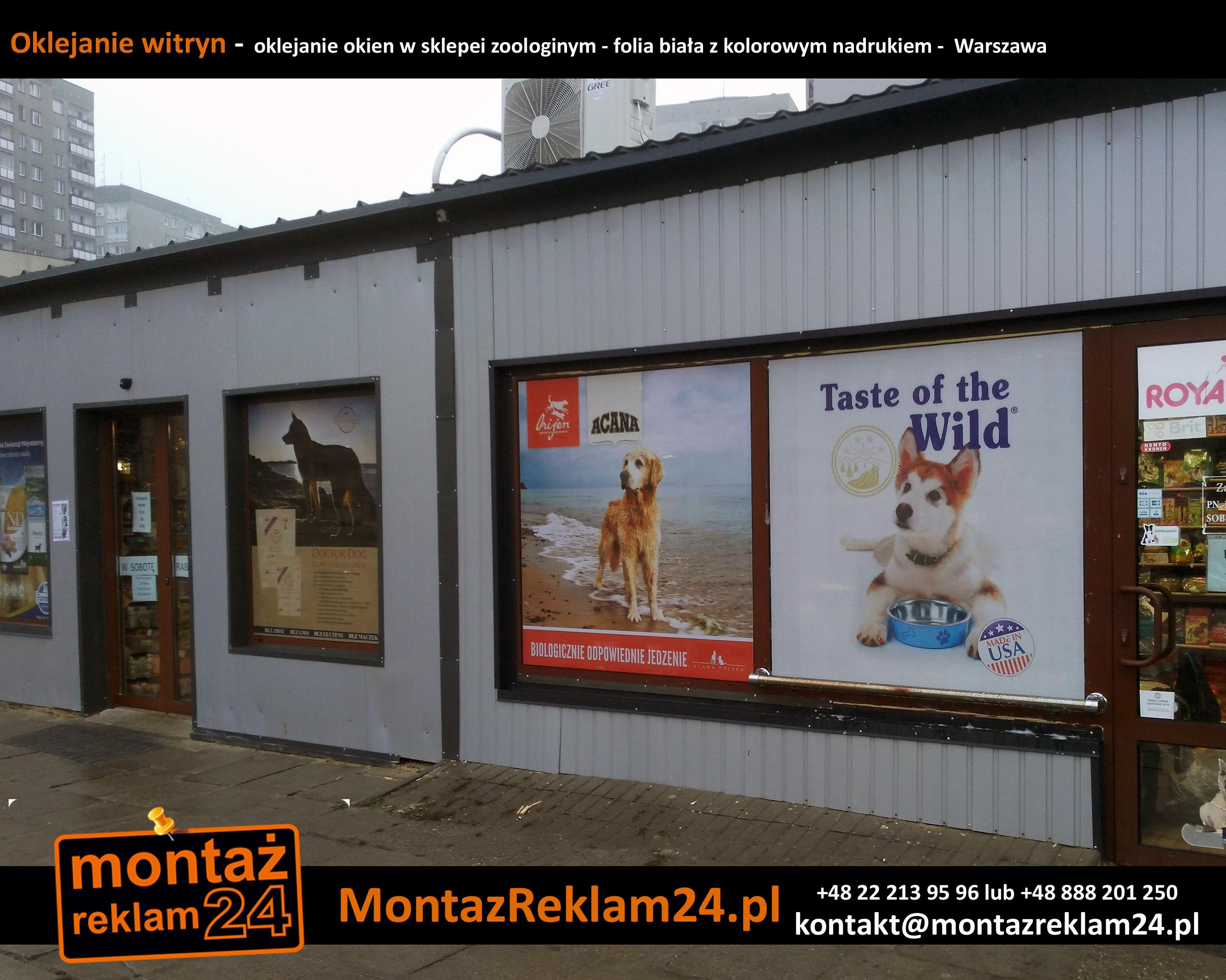 Oklejanie witryn -  oklejanie okien w sklepei zoologinym - folia biała z kolorowym nadrukiem -  Warszawa.jpg