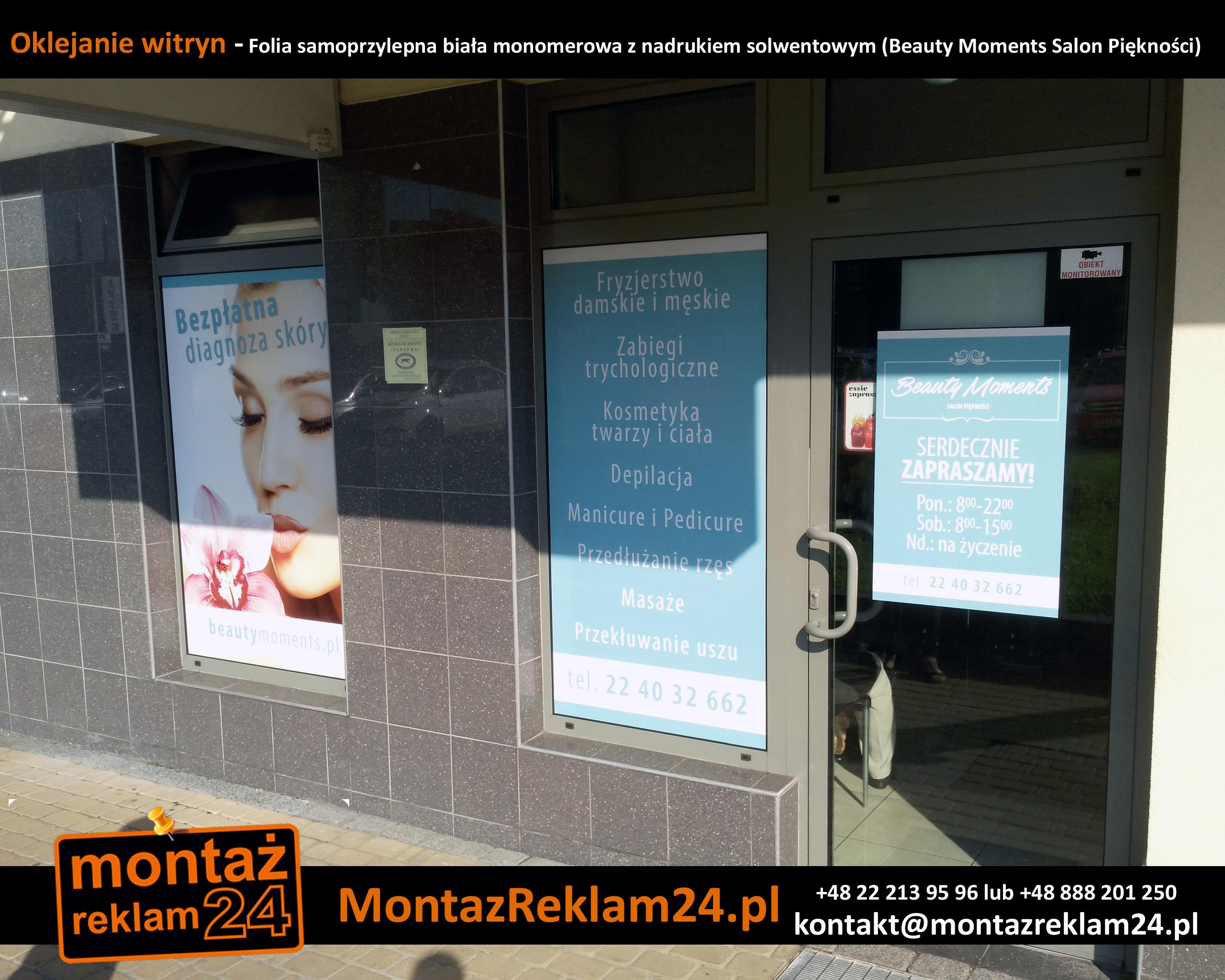 Oklejanie witryn - Folia samoprzylepna biała monomerowa z nadrukiem solwentowym (Beauty Moments Salon Piękności).jpg