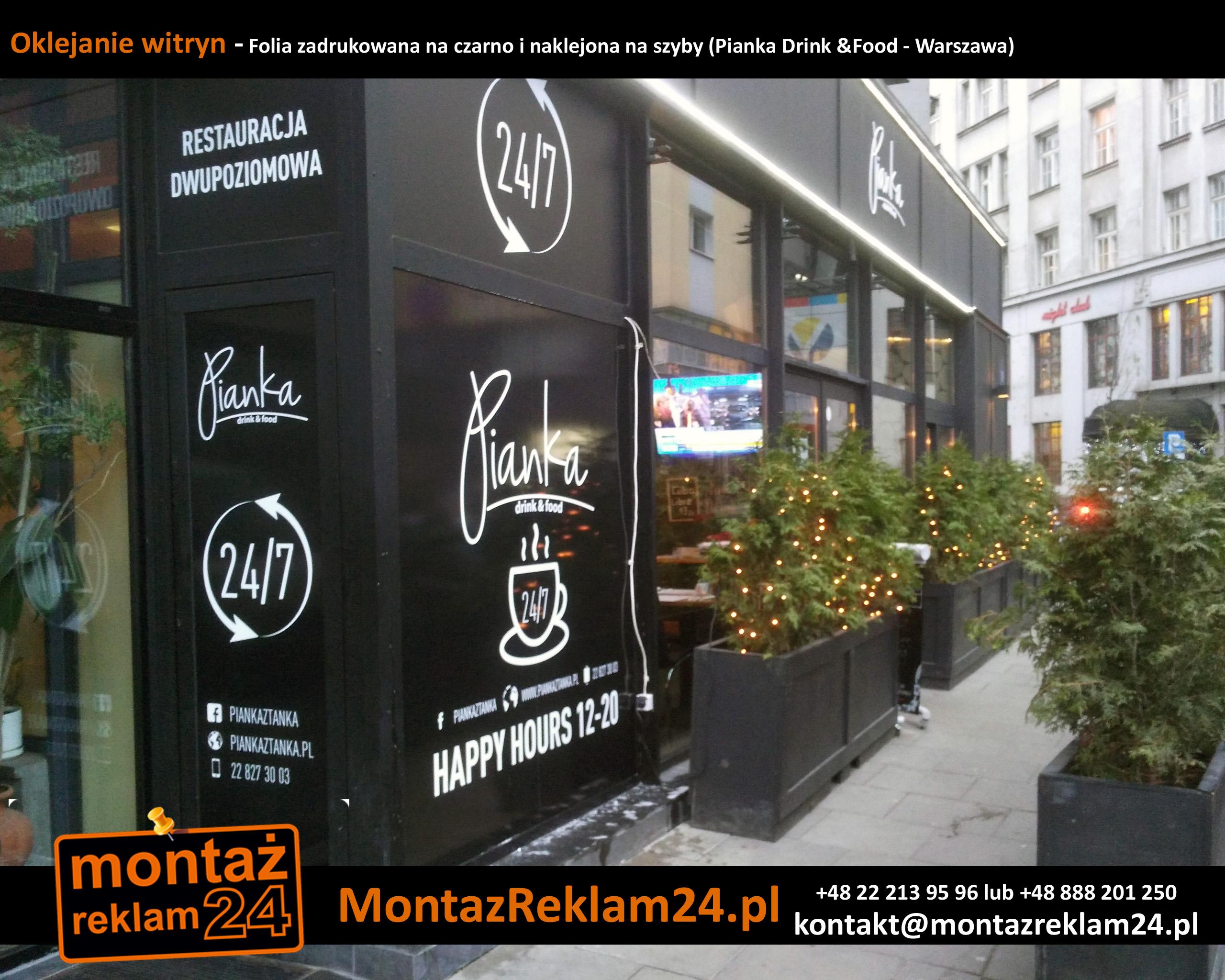 Oklejanie witryn - Folia zadrukowana na czarno i naklejona na szyby (Pianka Drink &Food - Warszawa).jpg