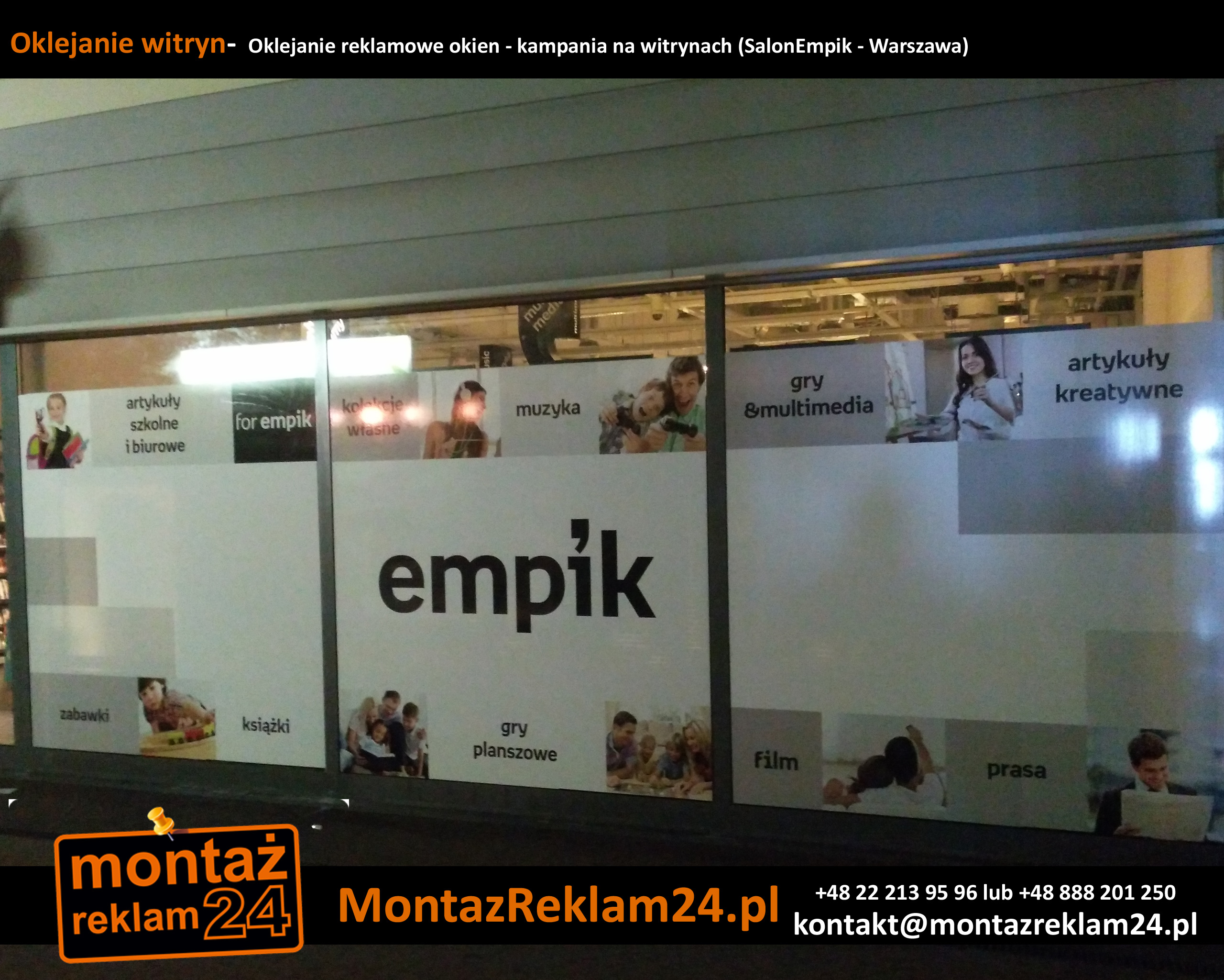 Oklejanie witryn-  Oklejanie reklamowe okien - kampania na witrynach (SalonEmpik - Warszawa).jpg