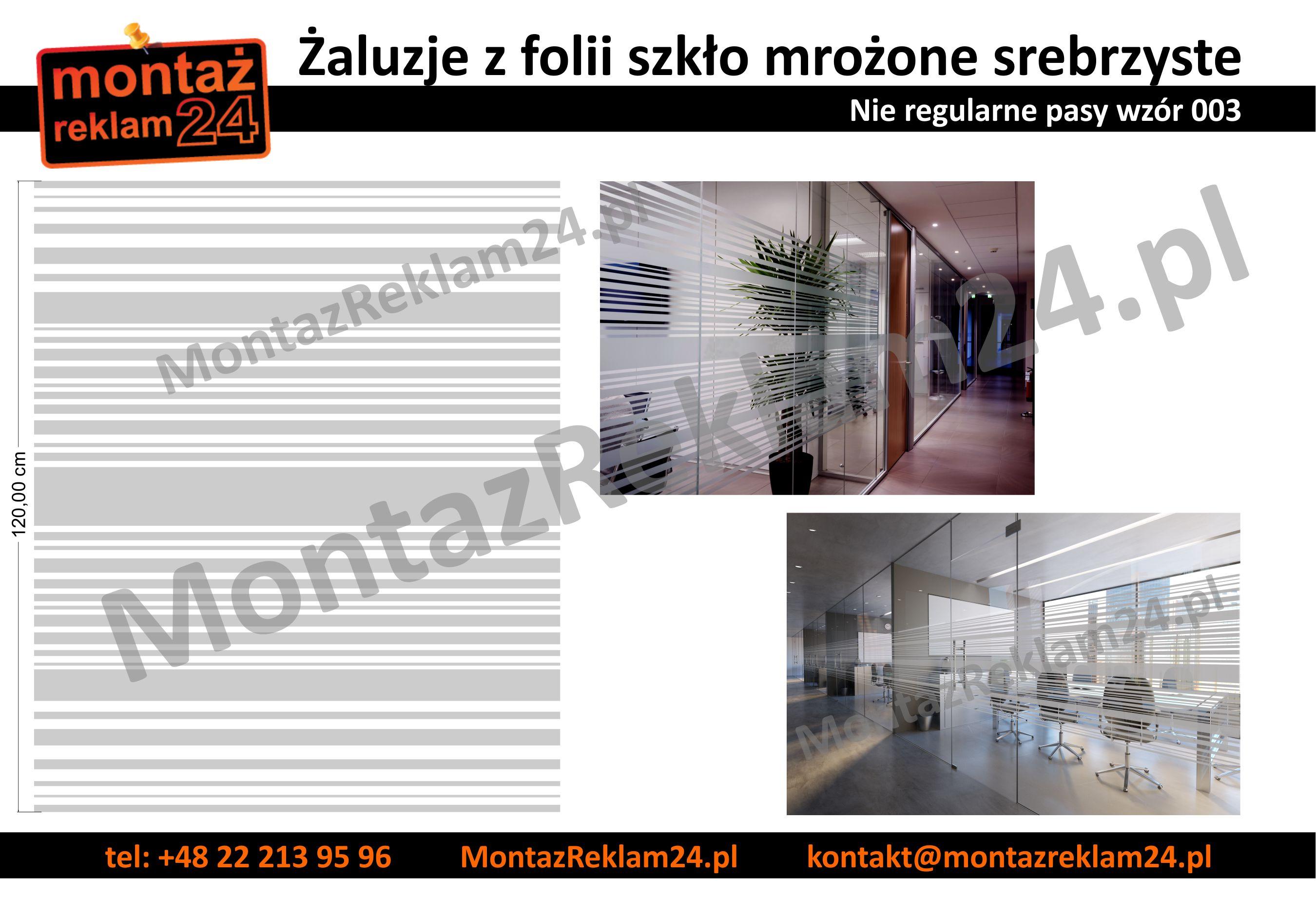 Zaluzje z folii mrozonej nie regularne pasy - wzor003 - MontazReklam24.jpg