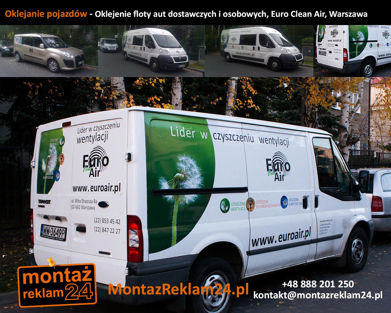 Oklejanie pojazdów - Oklejenie floty aut dostawczych i osobowych, Euro Clean Air, Warszawa.jpg