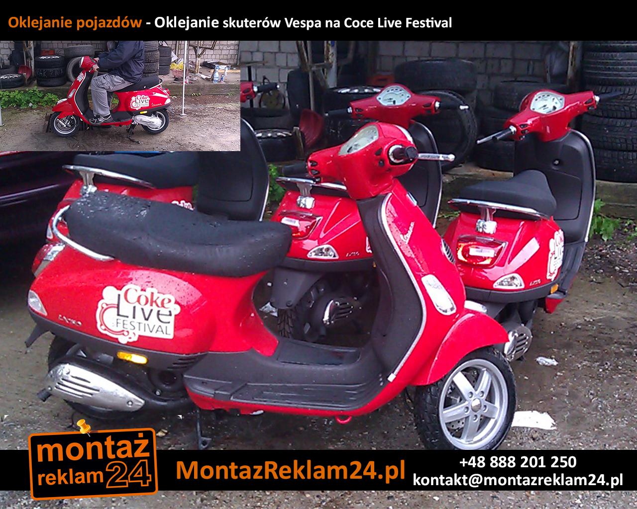 Oklejanie pojazdów - Oklejanie skuterów Vespa na Coce Live Festival.jpg