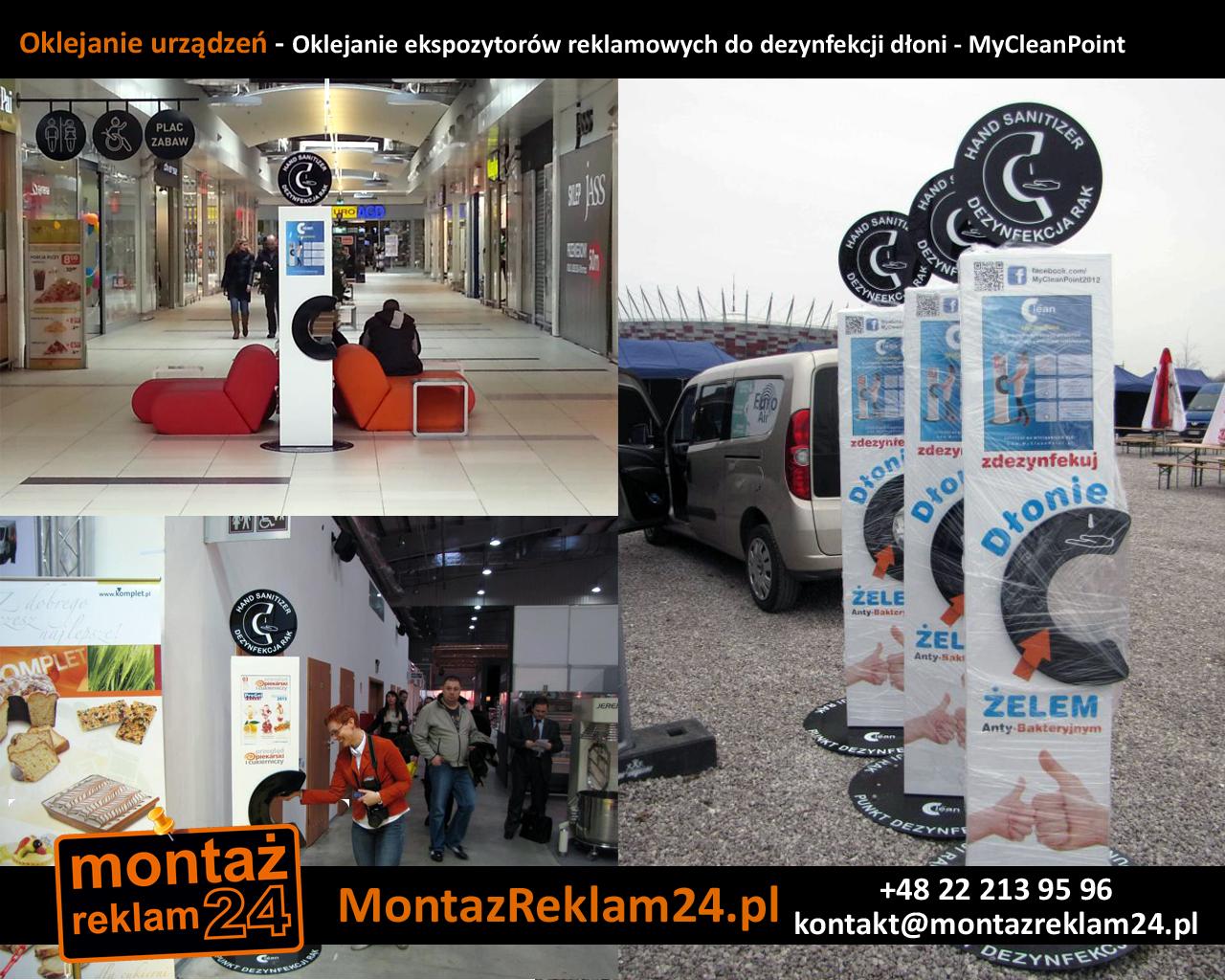 Oklejanie urządzeń - Oklejanie ekspozytorów reklamowych do dezynfekcji dłoni - MyCleanPoint.jpg