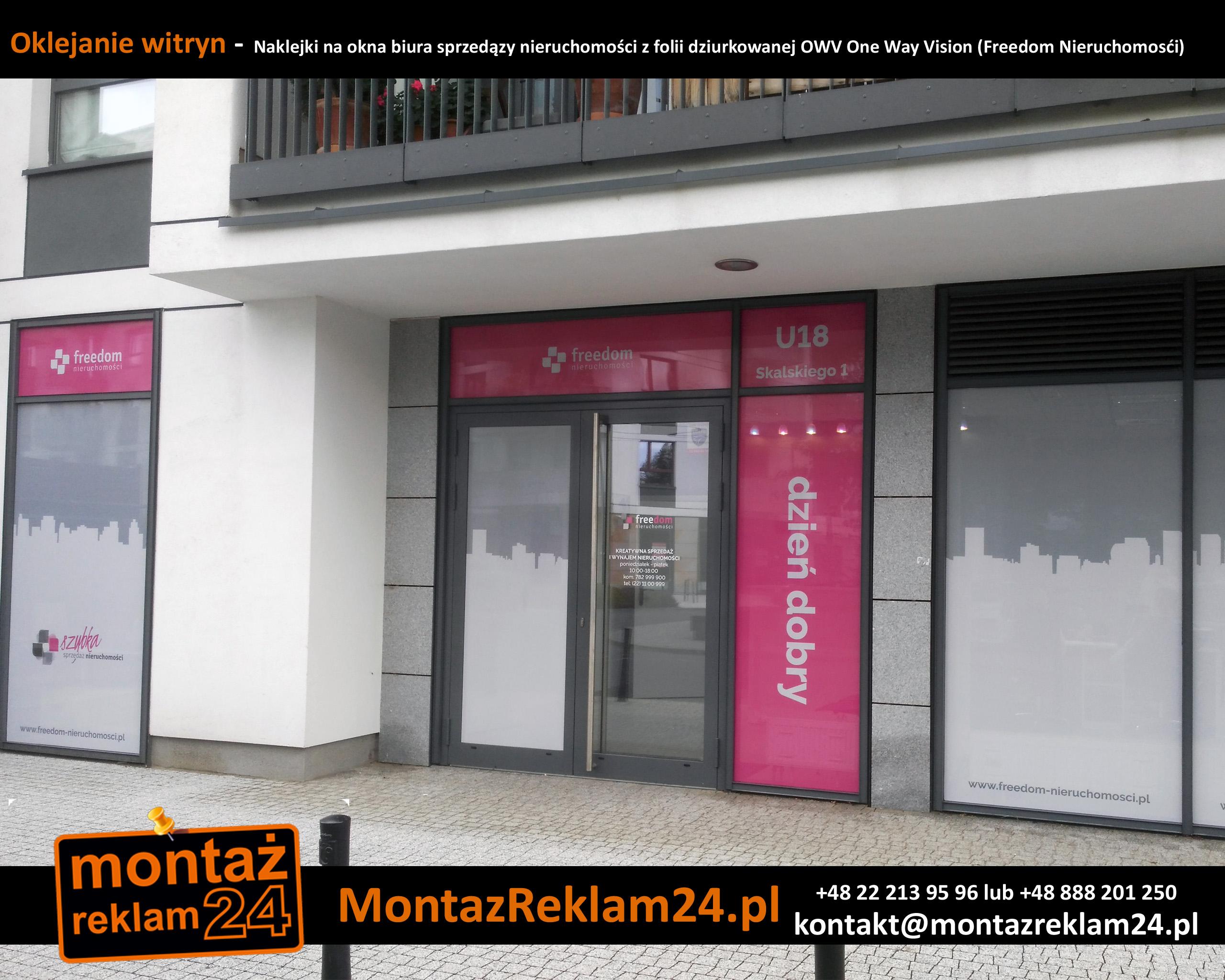 Naklejki na okna biura sprzedązy nieruchomości z folii dziurkowanej OWV One Way Vision (Freedom Nieruchomosći).jpg