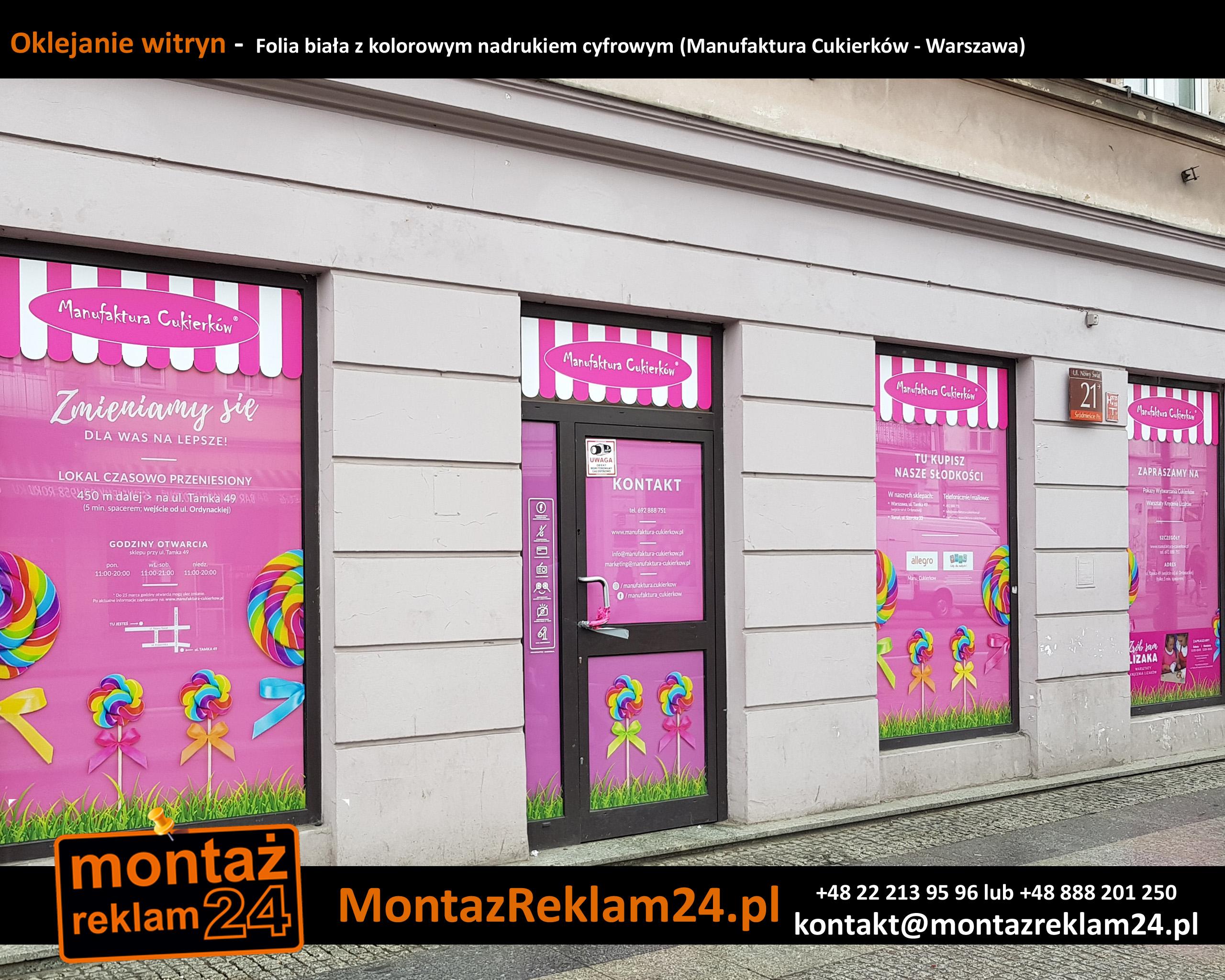 Oklejanie witryn -  Folia biała z kolorowym nadrukiem cyfrowym (Manufaktura Cukierków - Warszawa).jpg