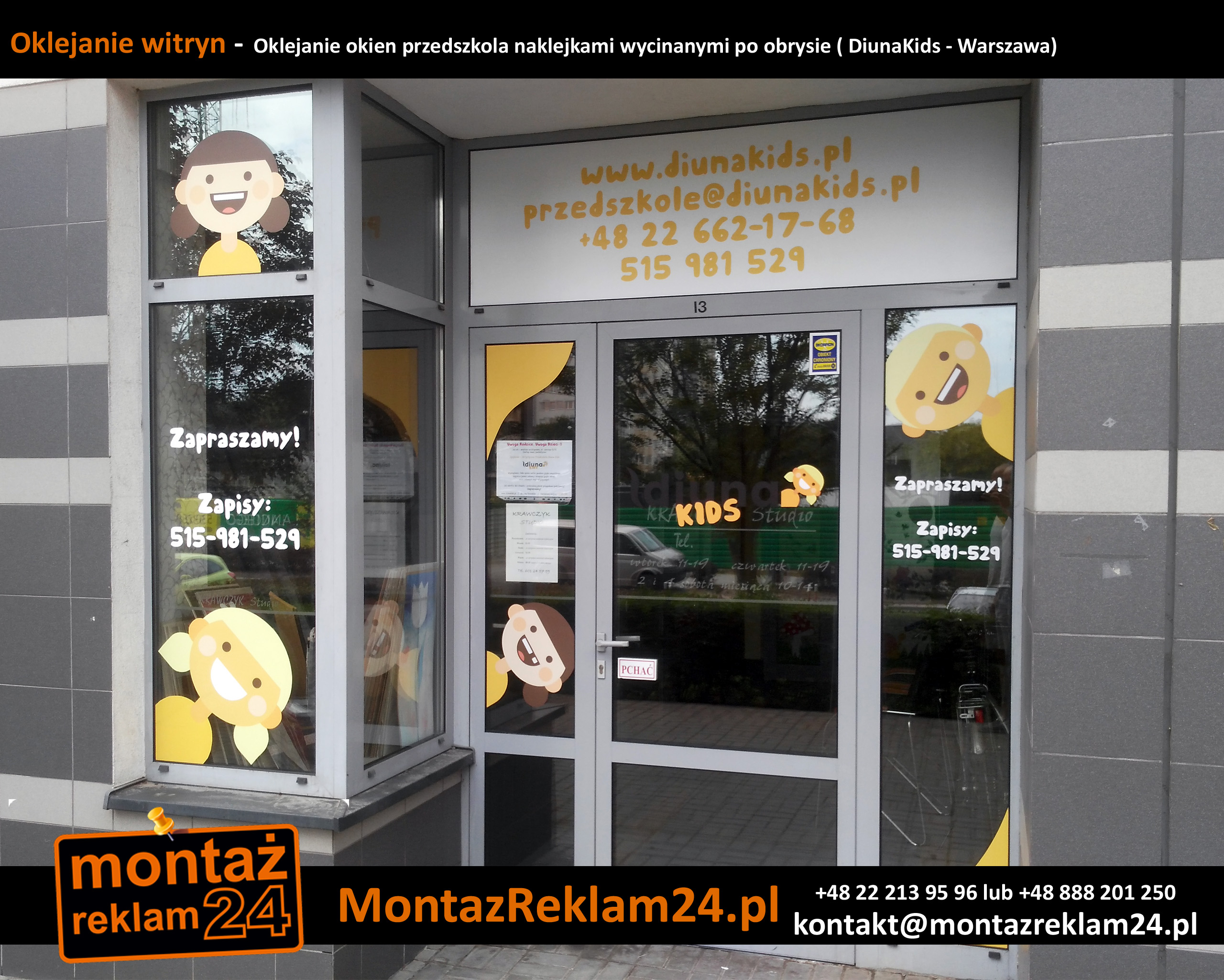 Oklejanie witryn -  Oklejanie okien przedszkola naklejkami wycinanymi po obrysie ( DiunaKids - Warszawa).jpg