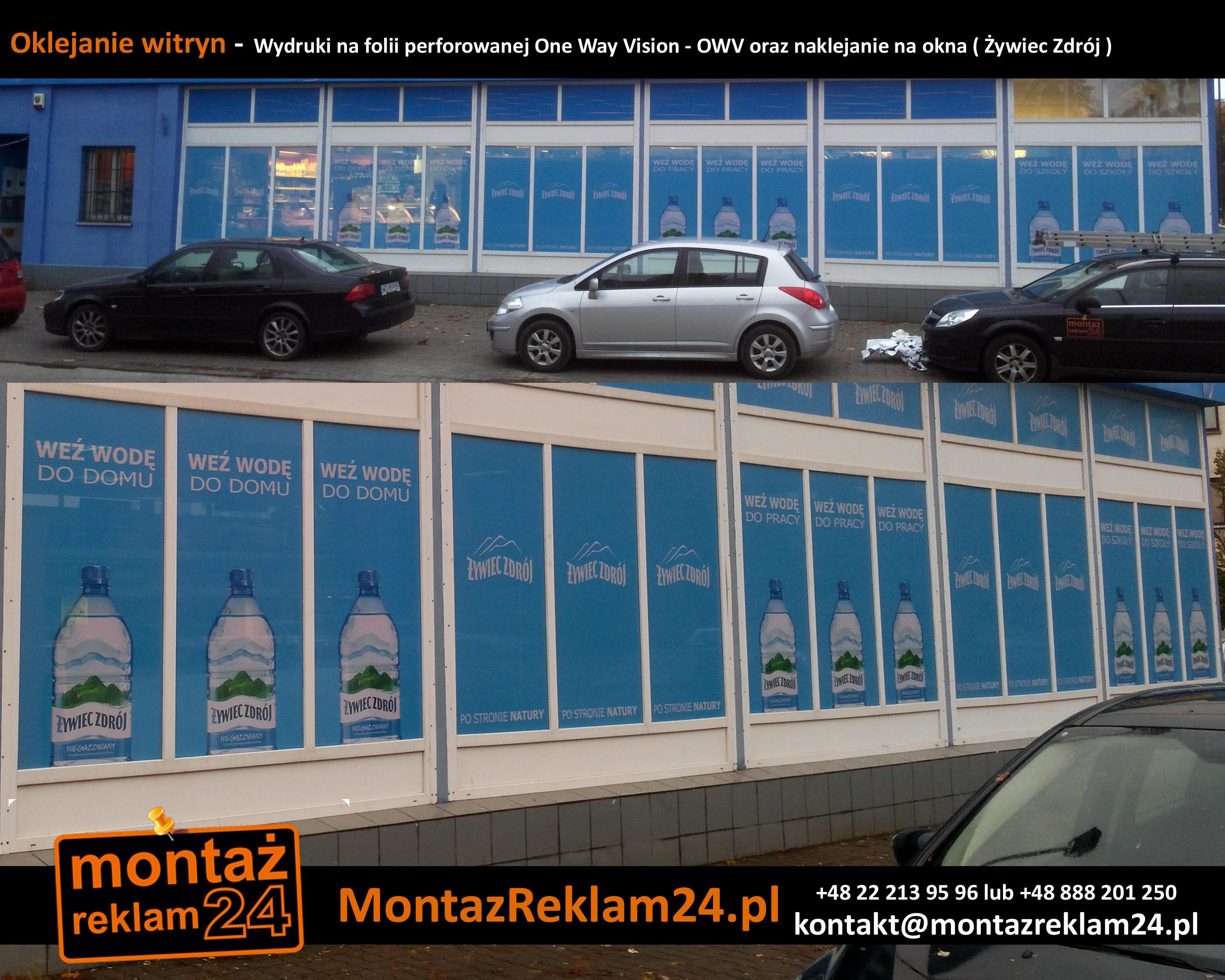 Oklejanie witryn -  Wydruki na folii perforowanej One Way Vision - OWV oraz naklejanie na okna ( Żywiec Zdrój ).jpg