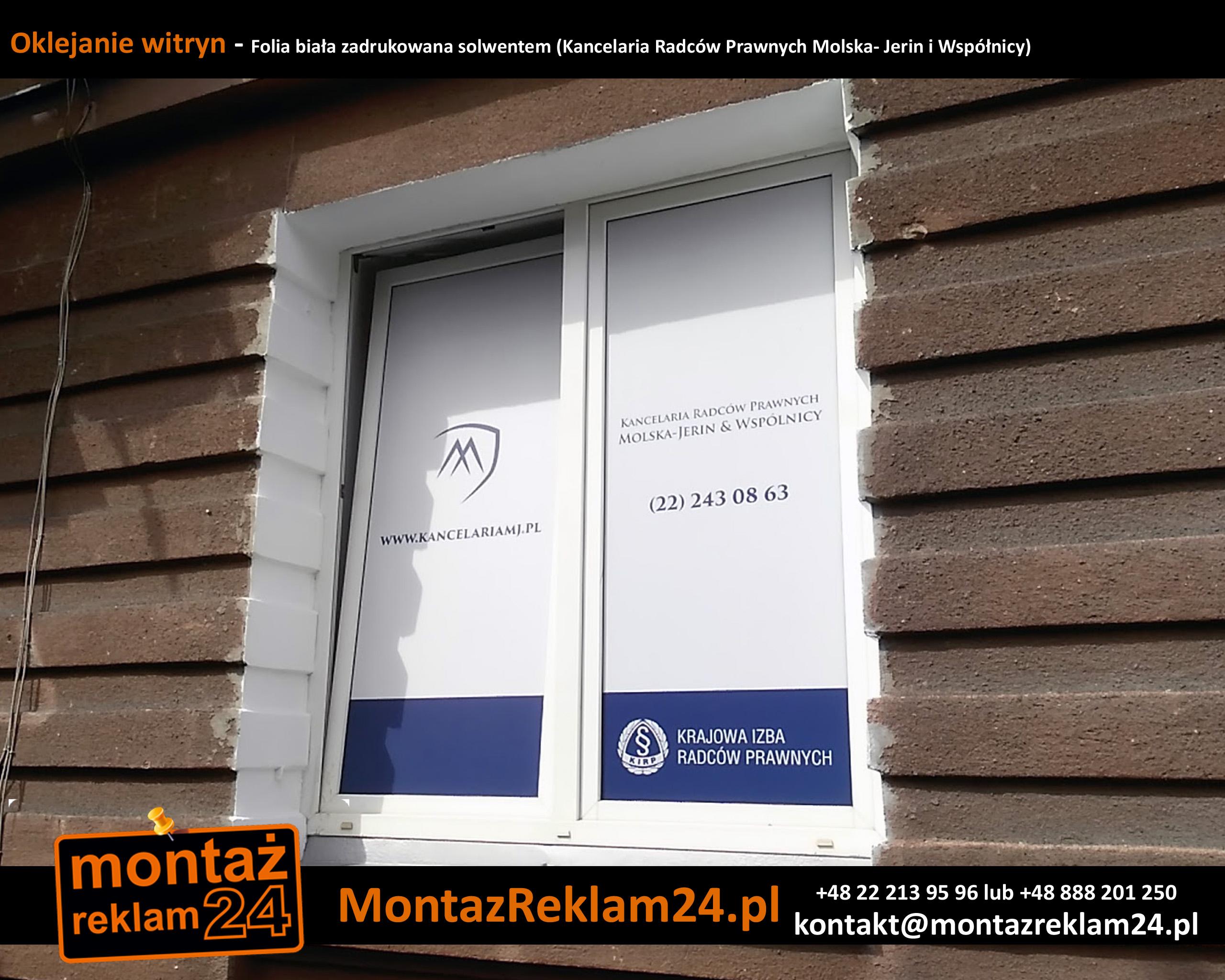 Oklejanie witryn - Folia biała zadrukowana solwentem (Kancelaria Radców Prawnych Molska- Jerin i Współnicy).jpg