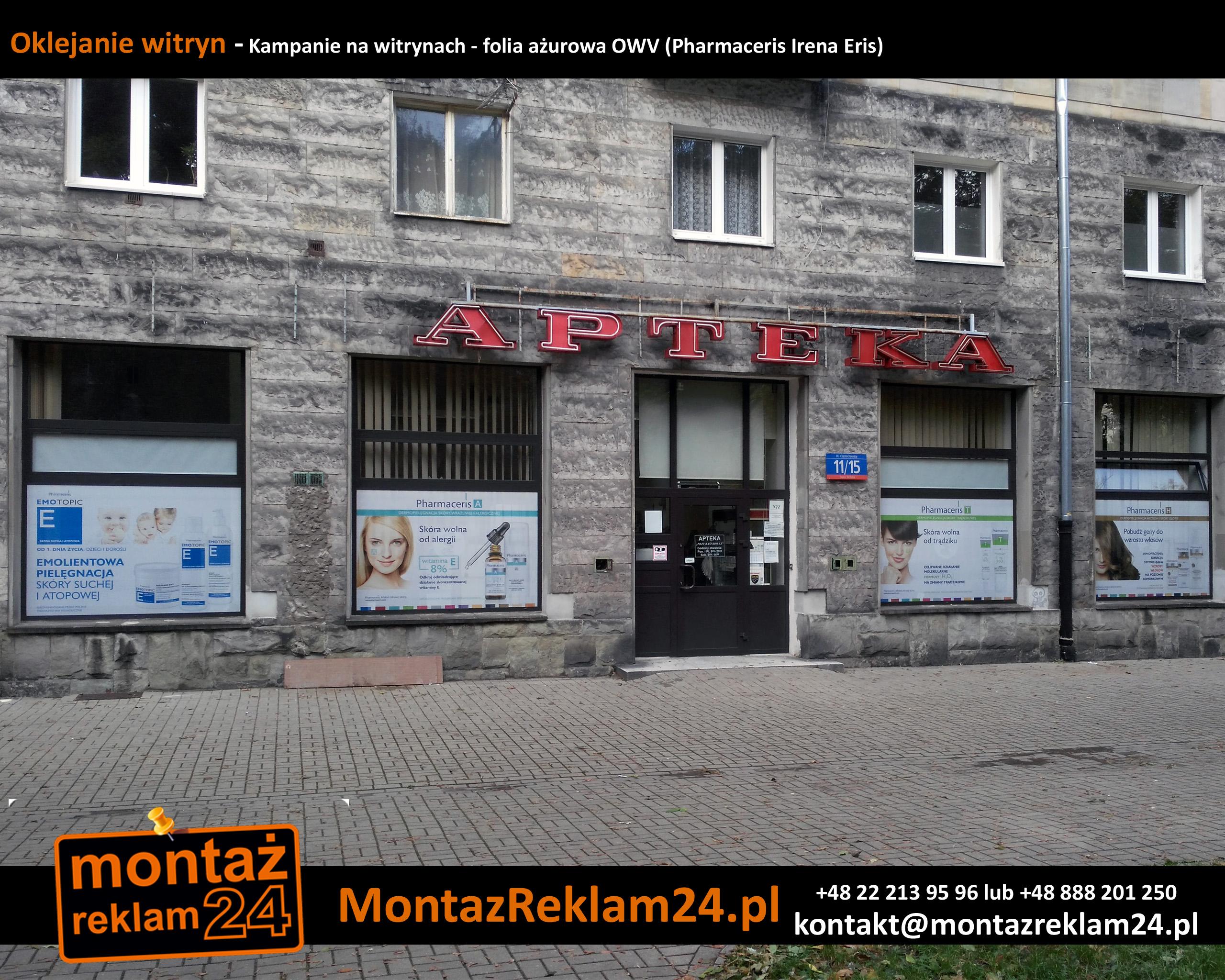 Oklejanie witryn - Kampanie na witrynach - folia ażurowa OWV (Pharmaceris Irena Eris).jpg
