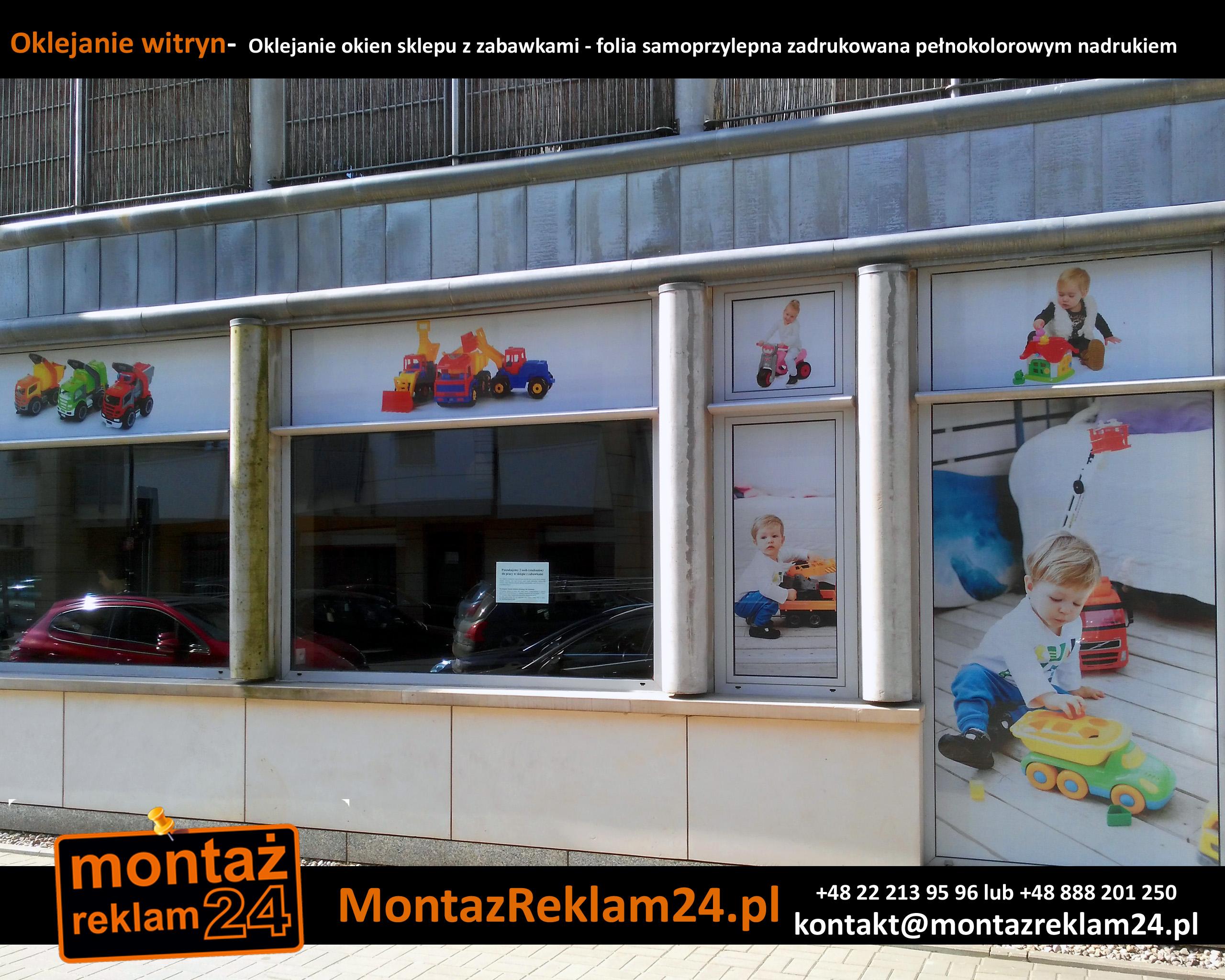 Oklejanie witryn-  Oklejanie okien sklepu z zabawkami - folia samoprzylepna zadrukowana pełnokolorowym nadrukiem.jpg