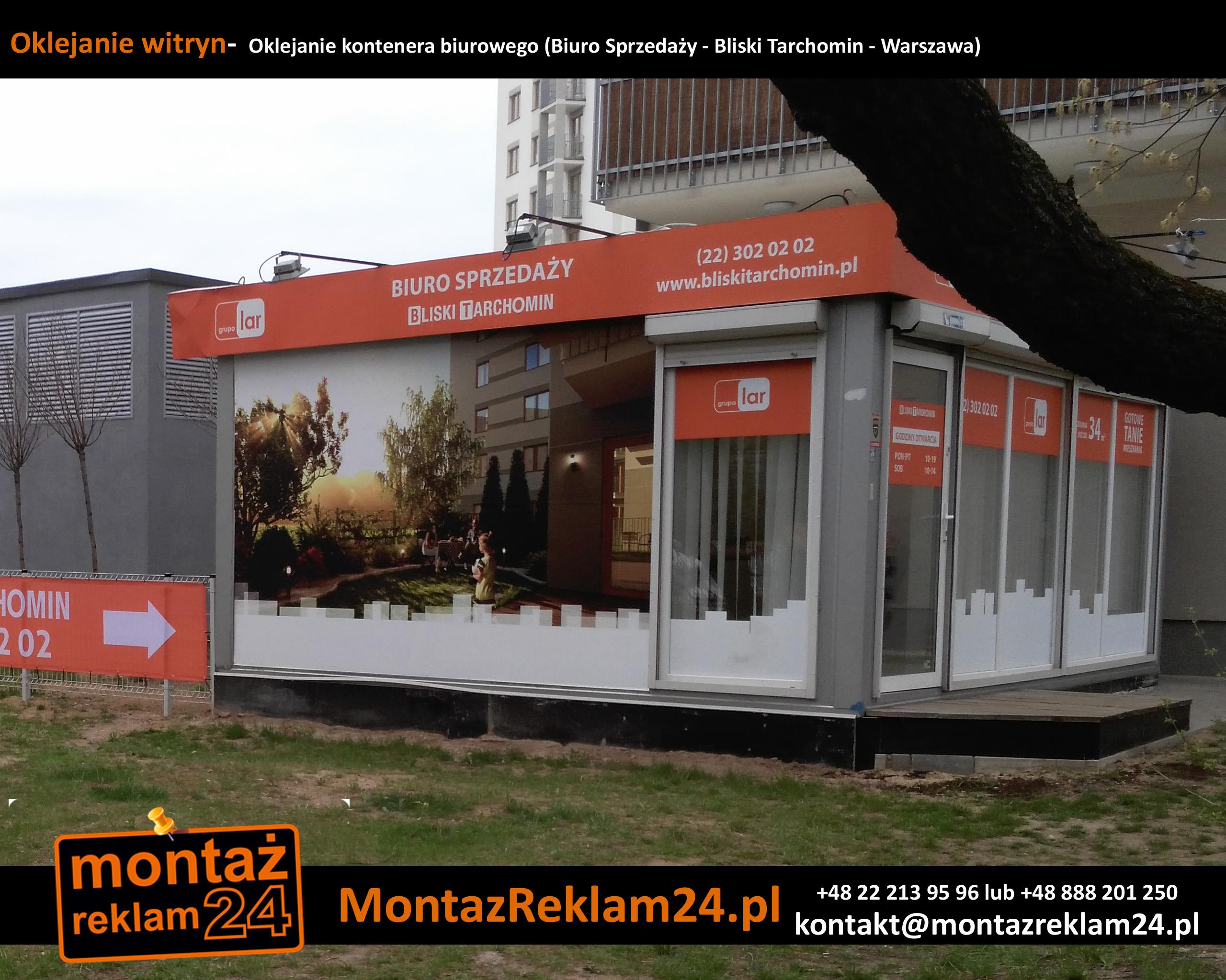 Oklejanie witryn-  Oklejanie kontenera biurowego (Biuro Sprzedaży - Bliski Tarchomin - Warszawa).jpg