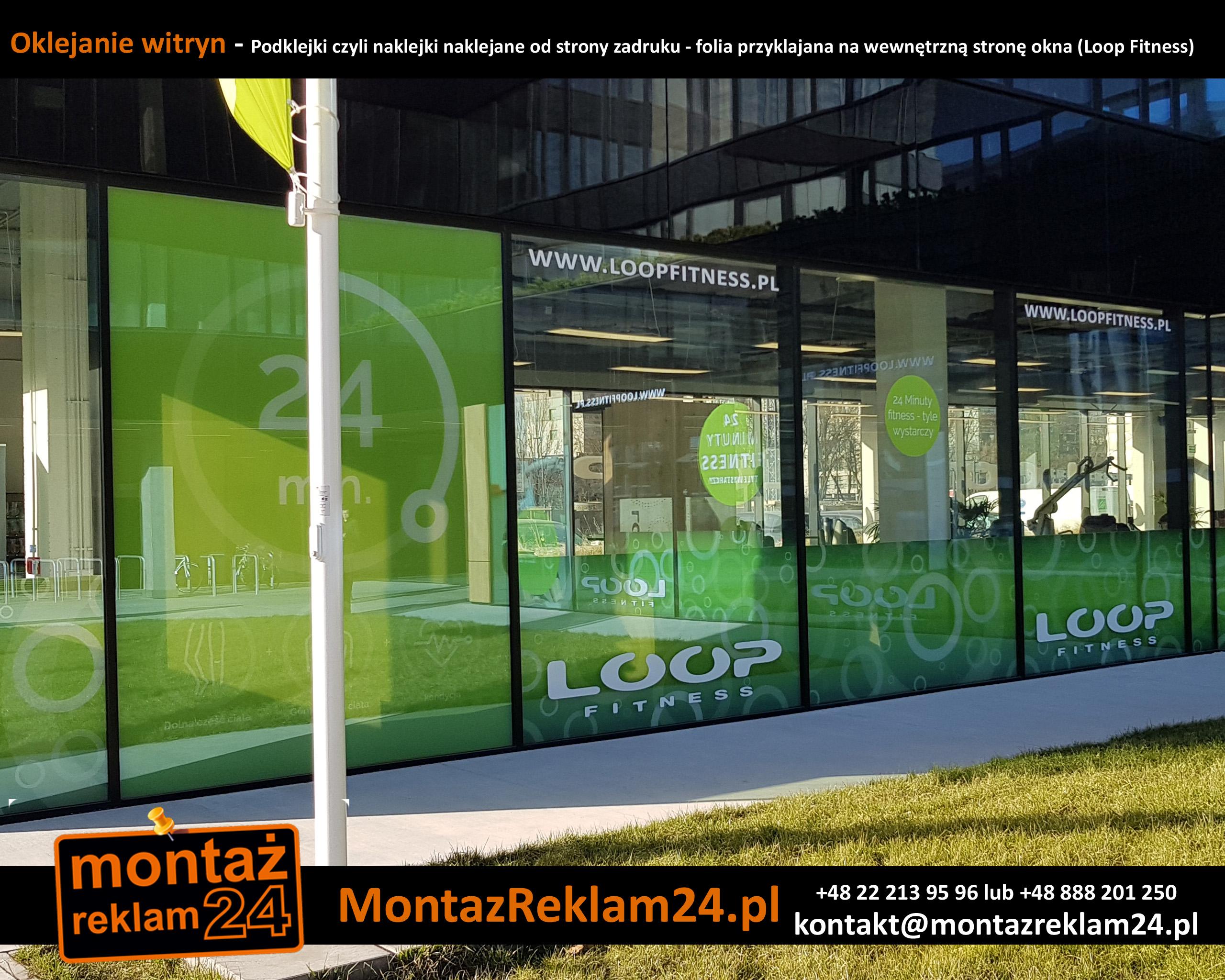 Oklejanie witryn - Podklejki czyli naklejki naklejane od strony zadruku - folia przyklajana na wewnętrzną stronę okna (Loop Fitness).jpg