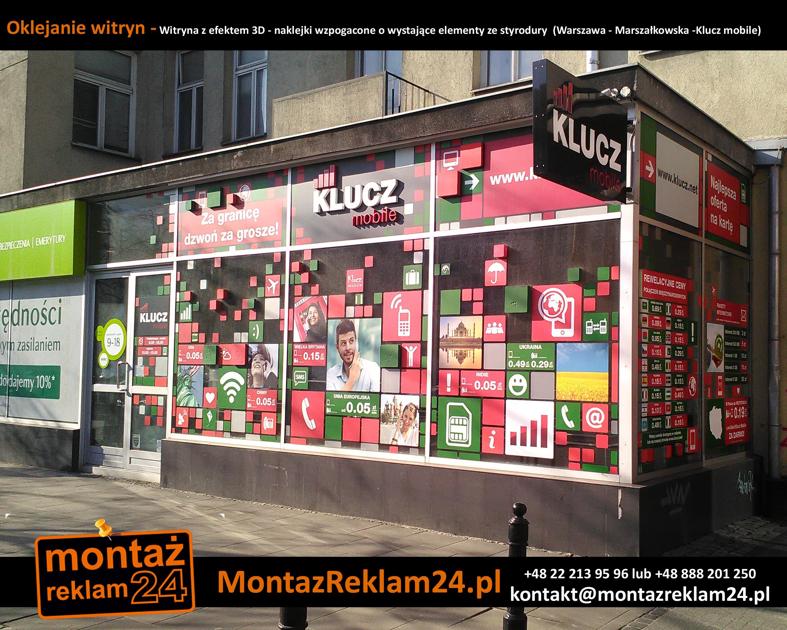 Oklejanie witryn - Witryna z efektem 3D - naklejki wzpogacone o wystające elementy ze styrodury  (Warszawa - Marszałkowska -Klucz mobile).jpg