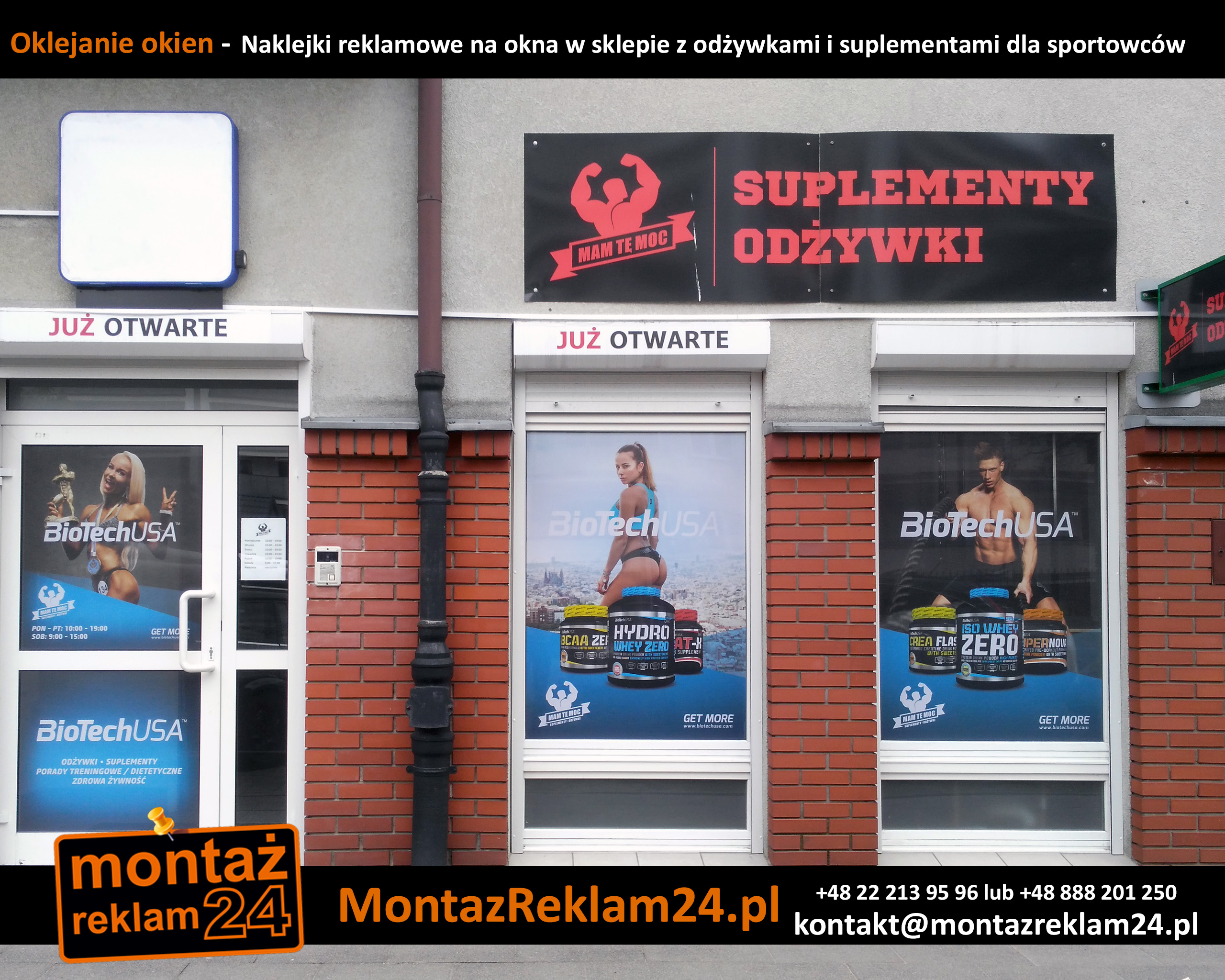 Oklejanie okien -  Naklejki reklamowe na okna w sklepie z odżywkami i suplementami dla sportowców.jpg